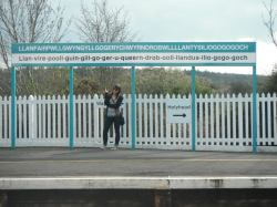 Standing on the platform of Llanfairpwllgwyngyll in Wales
