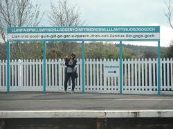 Standing on the platform of Llanfairpwllgwyngyll in Wales