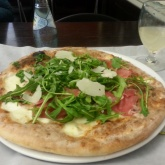 The Positano Pizza - prosciutto, arugula, mozzarella and paremsan